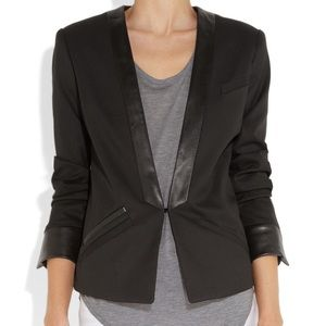 MAJE black leather trim blazer SZ 38